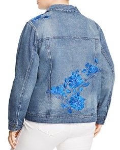 Seven7 Jeans Plus - Floral-Embroidered Denim Jacket
