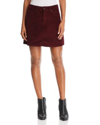 Corduroy Mini Skirt In Ruby by 7 For All Mankind