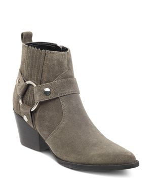 MARC FISHER LTD. Women'S Halie Pointed Toe Suede Mid-Heel Booties in Gray