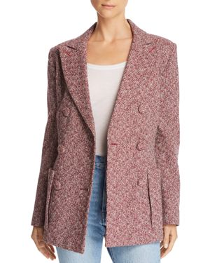 KSENIA SCHNAIDER Double-Breasted Tweed Blazer in Red