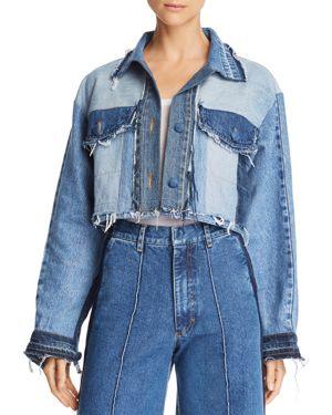 KSENIA SCHNAIDER Cropped Patchwork Denim Jacket in Mixed Blue