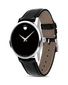 Movado - Museum Classic Black Leather Strap Watch, 28mm
