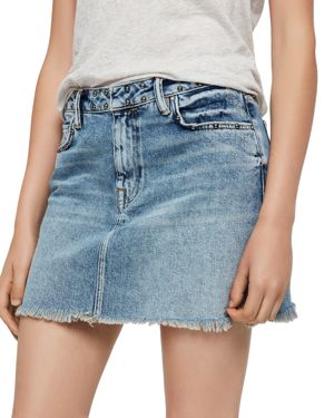 Betty Studded Denim Mini Skirt - Blue