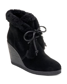 Splendid - Women's Catalina Suede & Shearling Lace Up Wedge Booties