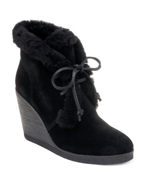 Women'S Catalina Suede & Shearling Lace Up Wedge Booties, Black Suede