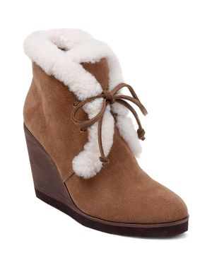 Women'S Catalina Suede & Shearling Lace Up Wedge Booties, Light Brown Suede