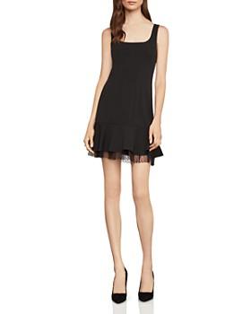 BCBGMAXAZRIA - Flounced Crepe Mini Dress