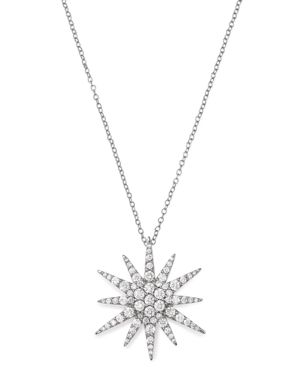 Bloomingdale's Diamond Starburst Pendant Necklace in 14K White Gold, 1.5 ct. t.w. - 100% Exclusive
