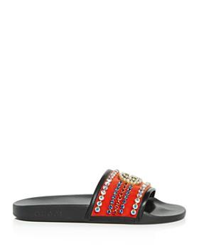 Gucci - Women's Embellished Velvet Slide Sandals