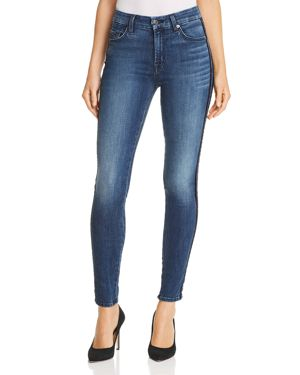 7 For All Mankind Velvet-Stripe Ankle Skinny Jeans in B(air) Authentic Chance 3117258