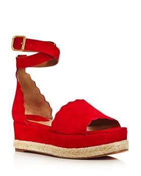 Chloé - Women's Lauren Suede Espadrille Platform Sandals
