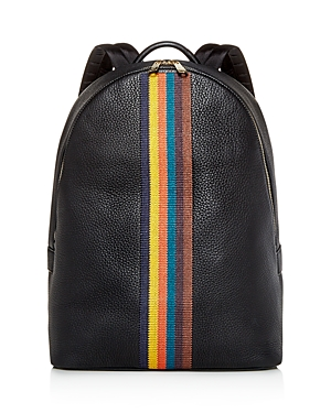 Paul Smith Embroidered Stripe Leather Backpack