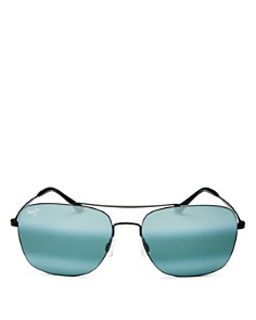 Maui Jim - Men's Lava Tube Polarized Mirrored Brow Bar Aviator Sunglasses, 57mm