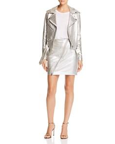 Current/Elliott - The Belen Metallic Leather Moto Skirt