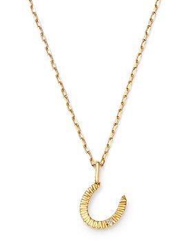 "Adina Reyter - 14K Yellow Gold Horseshoe Rays Diamond Small Pendant Necklace, 18"""
