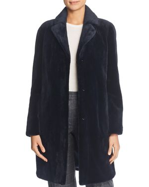 MAXIMILIAN FURS Sheared Mink Fur Coat in Dark Blue