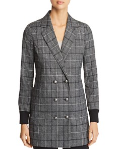 Marled - Plaid Double-Breasted Blazer