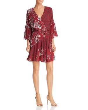 FRENCH CONNECTION Ellette Crepe Floral-Print Faux-Wrap Dress in Ellette Deep Framboise Multi