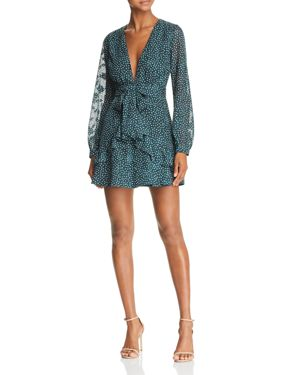 SAGE THE LABEL Sage The Label Layla Ruffled Polka Dot Mini Dress in Teal