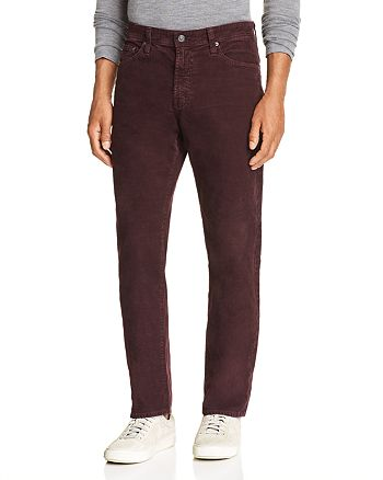AG - Slim Straight Fit Corduroy Jeans in Sulfur Rich Carmine