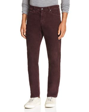 Ag Everett Slim Fit Corduroy Jeans in Sulfur Rich Carmine