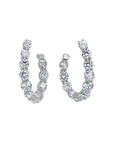 Gumuchian - 18K White Gold New Moon Diamond Curve Hoop Earrings