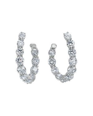 Gumuchian 18K White Gold New Moon Diamond Curve Hoop Earrings