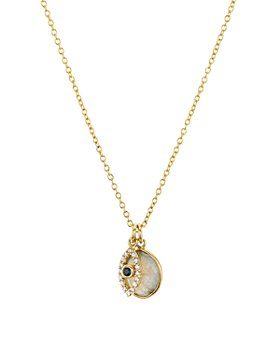 """AQUA - Evil Eye Charm & Stone Pendant Necklace in 18K Gold-Plated Sterling Silver, 16"""" - 100% Exclusive"""