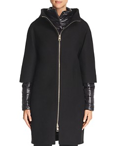Herno - Mixed Media Zip-Front Coat