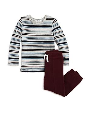 Splendid Boys' Striped Knit Tee & Terry Jogger Pants Set - Little Kid