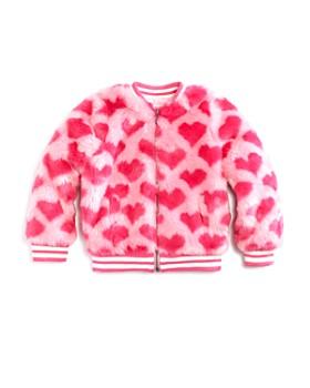 Design History - Girls' Faux-Fur Heart-Print Bomber Jacket - Little Kid