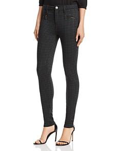 AQUA - Zip-Detail Plaid Skinny Pants - 100% Exclusive