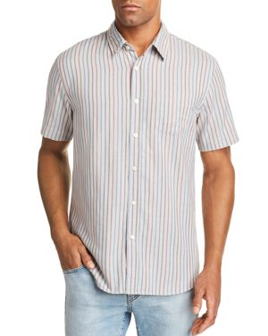 JACHS NY Short-Sleeve Striped Regular Fit Shirt in Gray/Blue/Red