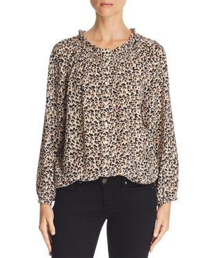 REBECCA TAYLOR Leopard Print Silk Blouse in Caramel Combo