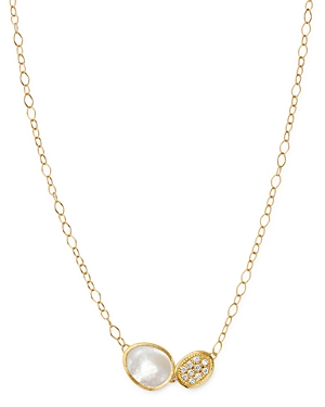 Marco Bicego 18K Yellow Gold Lunaria Brilliant-Cut Diamond & Mother of Pearl Pendant Necklace, 16.5-Jewelry & Accessories