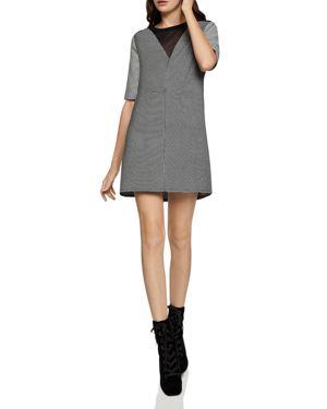 BCBGENERATION Illusion Neck Patterned Shift Dress in Black