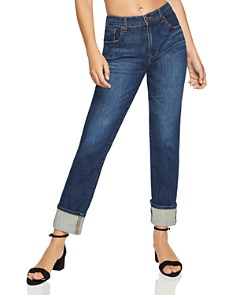 BCBGeneration - High-Rise Boyfriend Jeans in Dark Wash