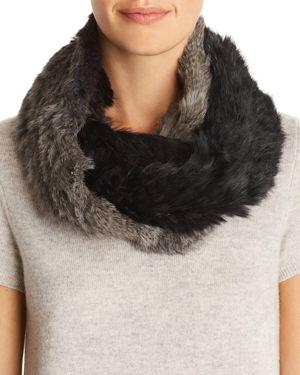 Jocelyn Ombre Knit Rabbit Fur Infinity Scarf