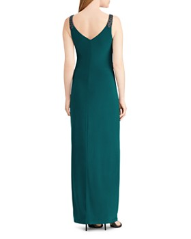 Ralph Lauren - Embellished Faux-Wrap Gown