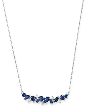 Bloomingdale's Sapphire & Diamond Bar Necklace in 14K White Gold, 16 - 100% Exclusive