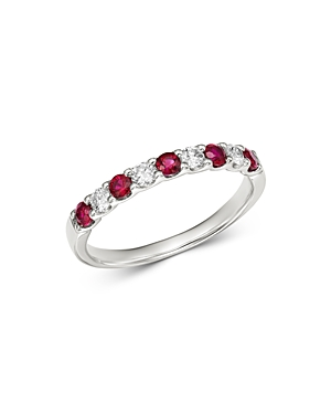 Bloomingdale's Ruby & Diamond Band in 14K White Gold - 100% Exclusive