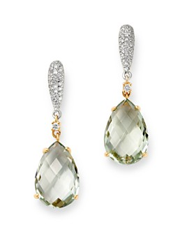 Bloomingdale's - Prasiolite & Diamond Drop Earrings in 14K White & Yellow Gold - 100% Exclusive
