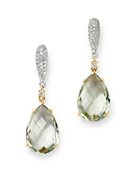 Bloomingdale's - Prasiolite & Diamond Drop Earrings in 14K White & Yellow Gold - 100% Exclusive