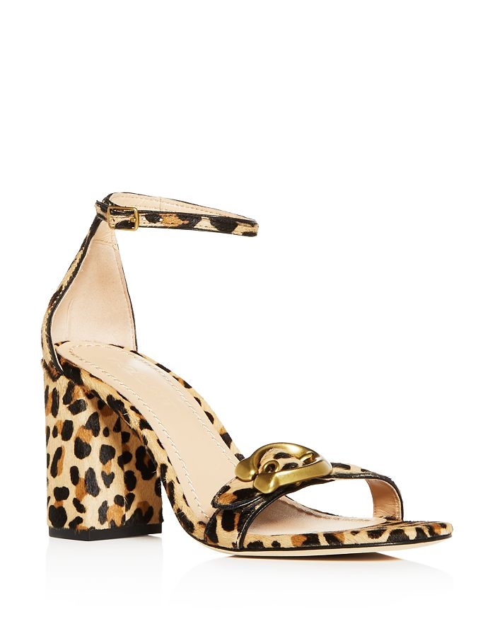 8c0503085 COACH Women s Maya Leopard Print Calf Hair Block-Heel Sandals ...