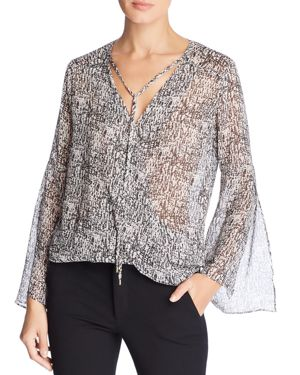 Kenneth Cole Urban Text Wrap-Front Top