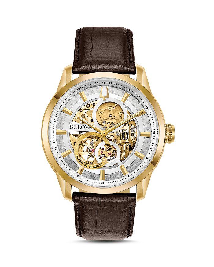 Bulova Sutton Skeleton Watch, 43mm | Bloomingdale's