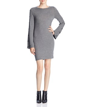 Three Dots - Brushed Button-Sleeve Sweater Dress