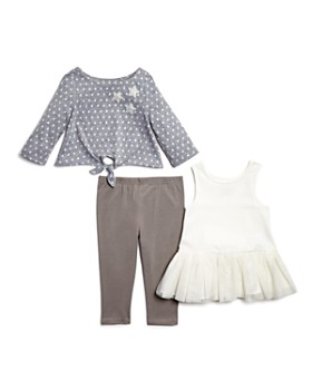 Pippa & Julie - Girls' Star-Print Tie-Front Sweater, Tutu Tank Dress & Leggings Set - Baby