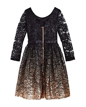 US Angels - Girls' Ombré Glitter Lace Dress - Big Kid