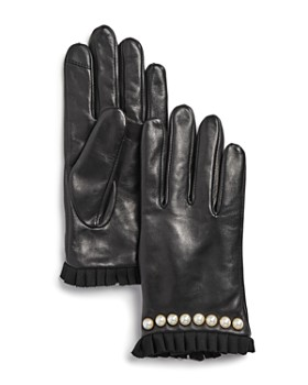 Echo - Embellished Pleated-Trim Leather Gloves